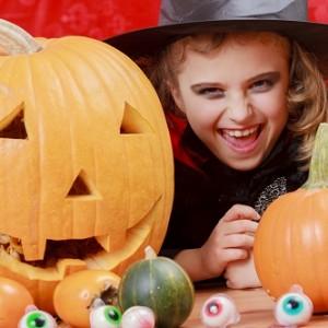 Halloween - girl has a fun at Halloween party
